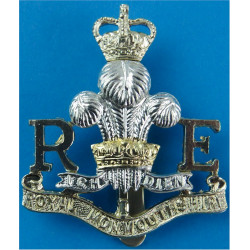 Royal Monmouthshire Royal Engineers (Militia)  with Queen Elizabeth's Crown. Anodised Staybrite army cap badge