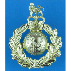 Royal Marines Gold Colour with Queen Elizabeth's Crown. Anodised Staybrite army cap badge