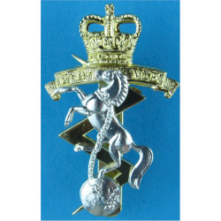 Royal Electrical & Mechanical Engineers  with Queen Elizabeth's Crown. Anodised Staybrite army cap badge