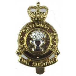 Army Catering Corps - 'We Sustain' scroll 1973-1993 with Queen Elizabeth's Crown. Anodised Staybrite army cap badge