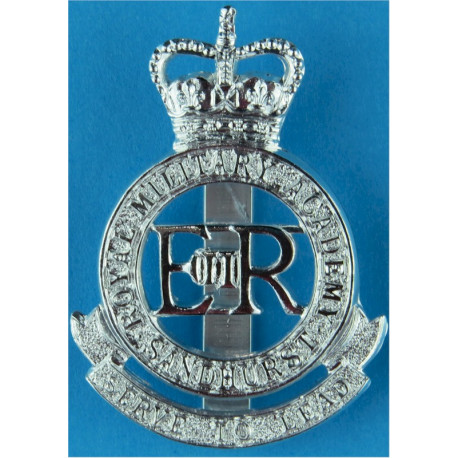 Royal Military Academy Sandhurst  with Queen Elizabeth's Crown. Anodised Staybrite army cap badge