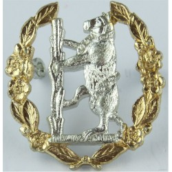Queen's Own Warwickshire & Worcestershire Yeomanry Bear In Wreath  Anodised Staybrite army cap badge