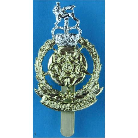 Lancastrian Brigade (worn By Lancastrian Volunteers)  with Queen Elizabeth's Crown. Anodised Staybrite army cap badge
