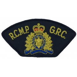 RCMP GRC Police (Royal Canadian Mounted Police) Armbadge with Queen Elizabeth's Crown. Lurex Overseas Police, Prison or Correcti