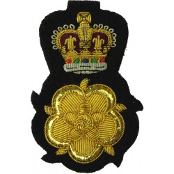 Lord Lieutenant Of An English County QC Over Gold Rose with Queen Elizabeth's Crown. Bullion wire-embroidered Officers' cap badg