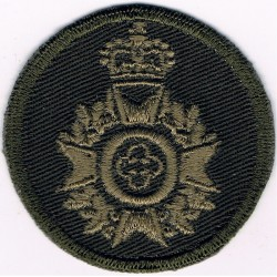 Canadian Armed Forces Chaplain Branch - Maple Wreath Green Bush Hat Badge with Queen Elizabeth's Crown. Embroidered Officers' ca