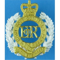 Royal Engineers EiiR with Queen Elizabeth's Crown. Silver-plate and gilt Officers' metal cap badge