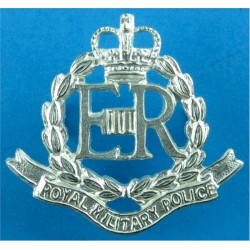 Royal Military Police Beret Size with Queen Elizabeth's Crown. Silver-plated Officers' metal cap badge