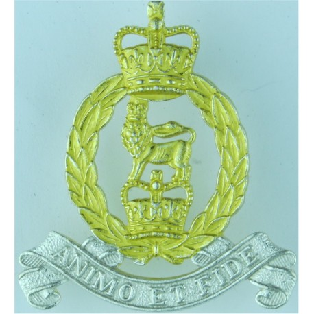 Royal Canadian Army Chaplains' Corps (Christian)  with Queen Elizabeth's Crown. Silver-plated, gilt and enamel Officers' metal c