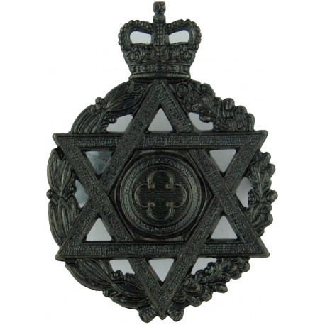 Royal Army Chaplains' Department (Jewish)  with Queen Elizabeth's Crown. Silver-plated, gilt and enamel Officers' metal cap badg