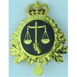 Canadian Armed Forces Legal Branch  with Queen Elizabeth's Crown. Gilt and enamel Officers' metal cap badge