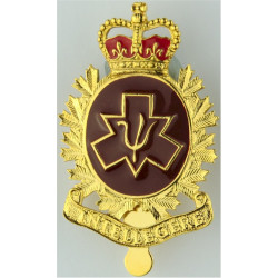Canadian Armed Forces Personnel Selection Branch  with Queen Elizabeth's Crown. Gilt and enamel Officers' metal cap badge