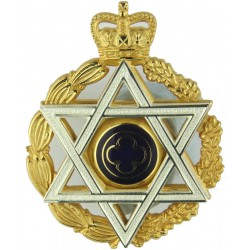 Royal Logistic Corps (3rd Pattern) All Gold On Blue with Queen Elizabeth's Crown. Woven Other Ranks' cap badge
