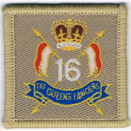 16th/5th The Queen's Royal Lancers Desert hat badge with Queen Elizabeth's Crown. Woven Other Ranks' cap badge