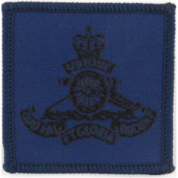 Royal Artillery  (Black On Blue: Blue Merrowed Edge) also worn in Gulf with Queen Elizabeth's Crown. Woven Other Ranks' cap badg