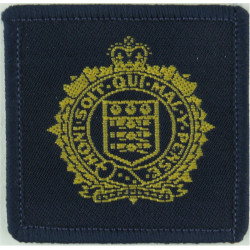 Royal Logistic Corps (2nd Pattern) All Gold On Blue with Queen Elizabeth's Crown. Woven Other Ranks' cap badge