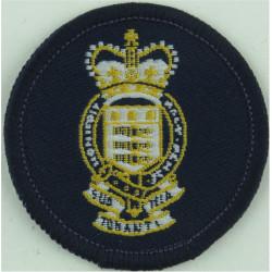 Canadian Scottish Regiment Green Bush Hat Badge with Queen Elizabeth's Crown. Embroidered Other Ranks' cap badge