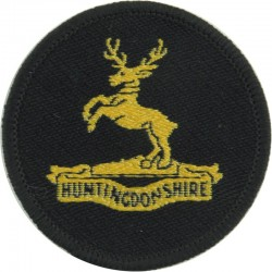 Kimbolton School CCF (Huntingdonshire Stag) Yellow On Black  Woven Other Ranks' cap badge