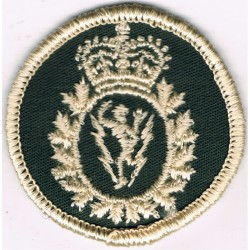 Canadian Armed Forces Communications & Electronics Green Bush Hat Badge with Queen Elizabeth's Crown. Embroidered Other Ranks' c