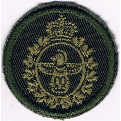 Canadian Forces Military Police Green Bush Hat Badge with Queen Elizabeth's Crown. Embroidered Other Ranks' cap badge