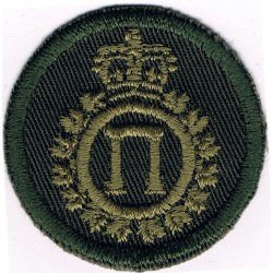 Canadian Armed Forces Administration Branch Green Bush Hat Badge with Queen Elizabeth's Crown. Embroidered Other Ranks' cap badg