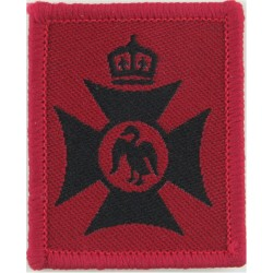 Royal Grammar School High Wycombe CCF Black On Red with King's Crown. Woven Other Ranks' cap badge