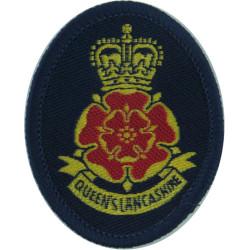 Queen's Lancashire Regiment - 2003 Pattern On Dark Blue Oval with Queen Elizabeth's Crown. Woven Other Ranks' cap badge