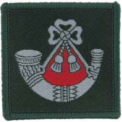 Light Infantry - On Dark Green Square Red Behind Bugle  Woven Other Ranks' cap badge