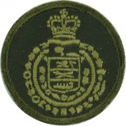 Lord Strathcona's Horse - Canadian Army Green Bush Hat Badge with Queen Elizabeth's Crown. Embroidered Other Ranks' cap badge