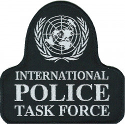 United Nations International Police Task Force Bell Shape + Globe  Woven Overseas Police, Prison or Corrections insignia