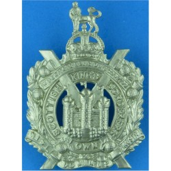 King's Own Scottish Borderers  with King's Crown. White Metal Other Ranks' metal cap badge