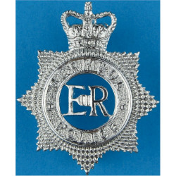 Bermuda Police - EiiR Centre Cap Badge - Star with Queen Elizabeth's Crown. Chrome-plated Overseas Police, Prison or Corrections