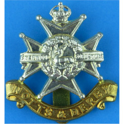 Sherwood Foresters (Notts & Derby Regiment)  with King's Crown. Bi-metallic Other Ranks' metal cap badge