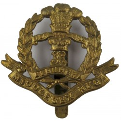 Middlesex Regiment WW1 Economy Issue  All Brass Other Ranks' metal cap badge