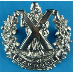 Queen's Own Cameron Highlanders   White Metal Other Ranks' metal cap badge