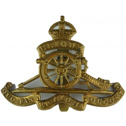 Royal Artillery Full Size with King's Crown. Brass Other Ranks' metal cap badge