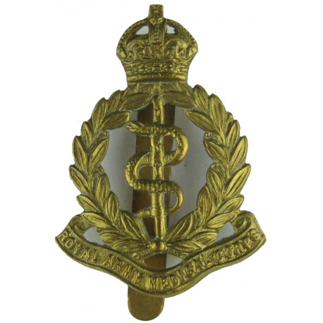 Royal Army Medical Corps 1902-1947 with King's Crown. Brass Other Ranks' metal cap badge