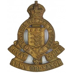 Royal Army Ordnance Corps 1919-1947 with King's Crown. Brass Other Ranks' metal cap badge