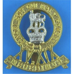 15th/19th King's Royal Hussars Improved Metal Issue with Queen Elizabeth's Crown. Bi-metallic Other Ranks' metal cap badge