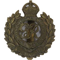 Royal Engineers GviR - 1936-1949 with King's Crown. Brass Other Ranks' metal cap badge