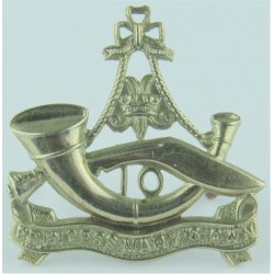 10th Princess Mary's Own Gurkha Rifles Large Type - Scroll  White Metal Other Ranks' metal cap badge