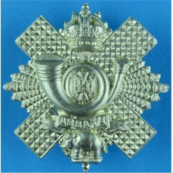 Highland Light Infantry Short Scroll with King's Crown. White Metal Other Ranks' metal cap badge
