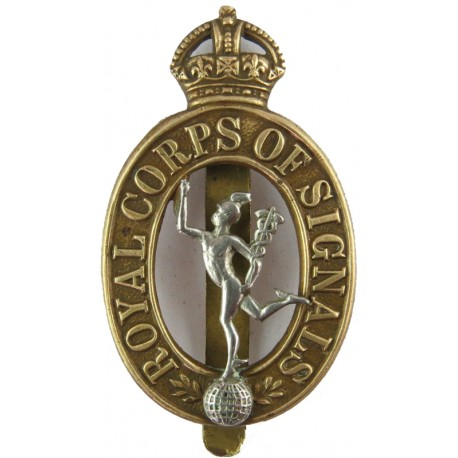 Royal Canadian Ordnance Corps  with King's Crown. Brass Other Ranks' metal cap badge