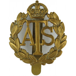 Auxiliary Territorial Service 1938-1949 with King's Crown. Brass Other Ranks' metal cap badge