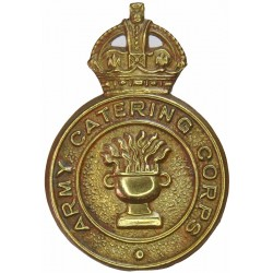 Army Catering Corps 1st Pattern with King's Crown. Brass Other Ranks' metal cap badge