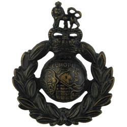 Royal Marines  with Queen Elizabeth's Crown. Bronze Other Ranks' metal cap badge