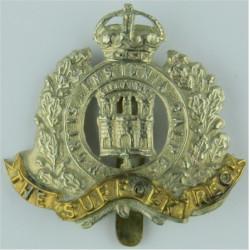 Suffolk Regiment (3 Towers) Void Between Towers with King's Crown. Bi-metallic Other Ranks' metal cap badge