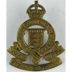 Royal Canadian Army Service Corps - GviR  with King's Crown. Brass Other Ranks' metal cap badge