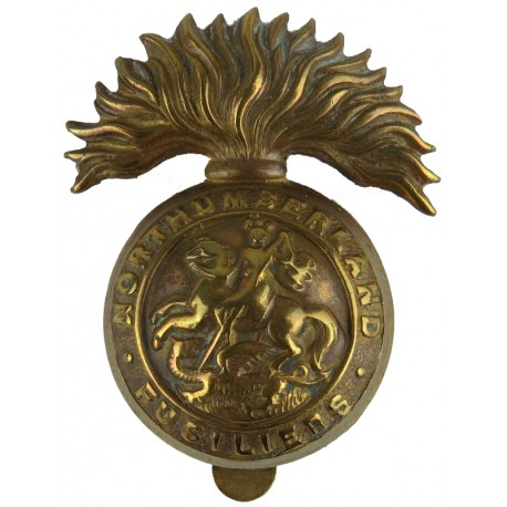 Northumberland Fusiliers Pre-1937  Brass Other Ranks' metal cap badge