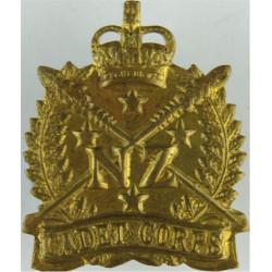 New Zealand Cadet Corps  with Queen Elizabeth's Crown. Brass Other Ranks' metal cap badge